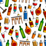 Bar cocktails and alcohol drinks seamless pattern Stock Image