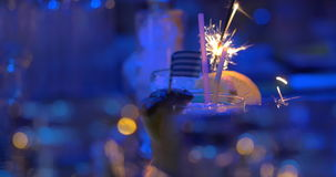 Bar cocktails with sparkler and Greek flag stock video