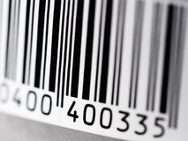 Bar code. Label with bar code, close-up, selective focus stock photography
