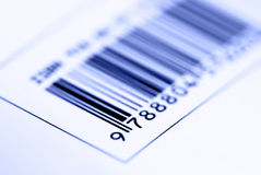Bar Code. Close up shot of a barcode - on blue tone stock images