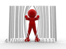Bar code. 3d person and bar code - This is a 3d render illustration Stock Images