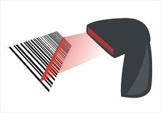 Bar code. Electronic device reading a bar code Royalty Free Stock Photography