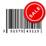Bar code. A bar code with a on sale sticker stuck to it Royalty Free Stock Photos