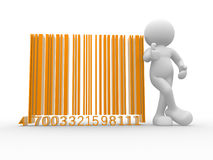 Bar code. 3d people - human character , person with a bar code ( bar-code ) . 3d render Stock Photos