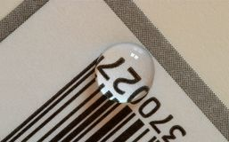 Bar Code 27. Water droplet on bar code label Stock Photo