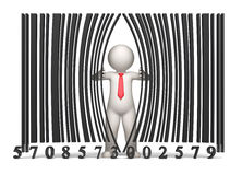 Bar code - 3d business man Stock Photo