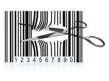 Bar code with 3d scissors that cut Stock Images