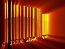 Bar code. Shining 3d rendered golden bar code Stock Image