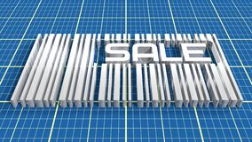 Bar code on blue print backdrop with sale word Royalty Free Stock Photography