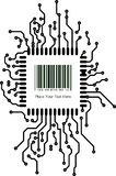 Bar code with border frame in PCB-layout style. Vector illustrat Royalty Free Stock Images