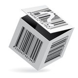 Bar code on box. Vector illustration of bar code on open white box Royalty Free Stock Photos