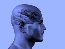 Bar code on brain. In mans head Royalty Free Stock Image