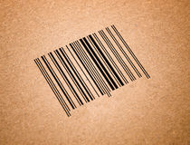 Bar code in a cardboard Royalty Free Stock Photos