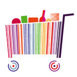 Bar code cart. A shopping cart made of colorful bar code and filled with products Royalty Free Stock Photos
