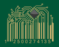 Bar code with computer motherboard Royalty Free Stock Photography