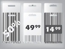 Bar code design labels hanging Stock Photo
