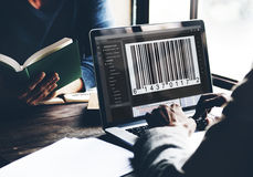 Bar Code Encryption Interface Coding Concept.  Stock Images