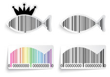 Bar code fish label set Royalty Free Stock Image