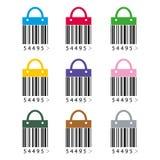 Bar code icon flat Stock Photos