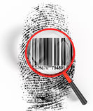 Bar Code ID. 3D render illustration of magnifying glass hovering over a finger print, revealing binary code within the print Stock Photos