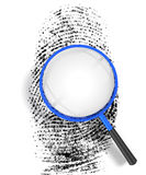 Bar Code ID. 3D render illustration of magnifying glass hovering over a finger print, revealing blank copy space Stock Photography