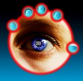 Bar Code Identity. Fingers being scanned for their fingerprints and eye scan while a bar code is located in the pupil of the eye. Security concept image Royalty Free Stock Images
