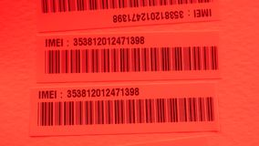 Bar code label. Close up of a standard barcode label stock video