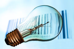 Bar code with  lightbulb Stock Images