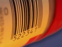 Bar code on a package label. Close up Royalty Free Stock Images