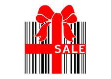 Bar code present. Vector illustration of bar code box - present with sale sign Stock Images