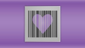 Bar code with a purple heart royalty free illustration