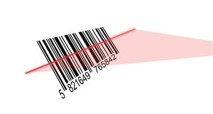 Bar code reading. Laser beam reading a bar code. Vector available Stock Image