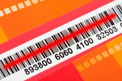 Bar code with red scanner laser Stock Photo