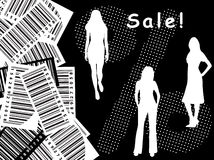Bar-code, sale, silhouette Stock Images