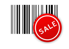 Bar code with SALE sticker Stock Photo