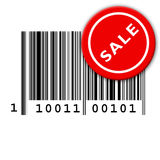 Bar code and sale sticker. Close up view of a UPC (universal price code) or bar code marking on a white background with a red sale sticker Royalty Free Stock Image