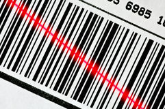 Bar Code Scanner. Barcode with red scanner line royalty free stock images