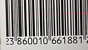 Bar Code. Scanning a bar code. Bar code close-up stock footage