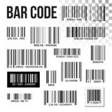 Bar Code Set Vector. Price Scan. Product Label. Information UPC Scanner. Digital Reader. Identification Sign royalty free illustration
