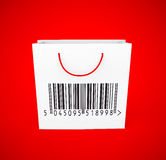 Bar code on shopping bag for online quick shopping security Stock Photos