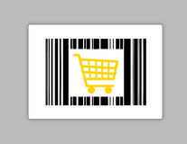 Bar code with shopping cart Stock Image
