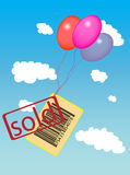 Bar code with sold label flying with balloons. Label sold with bar code flying at the skz with balloons Royalty Free Illustration