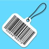 Bar code tag. White bar code tag on blue Stock Photo