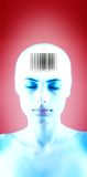 Bar Code Teen. Futuristic portrait of a teenage girl with bar code on her forehead. Eyes are closed. Isolated on red background, blue tint royalty free stock photos