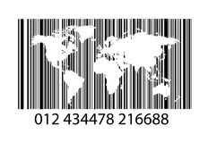 Bar-code with world map Royalty Free Stock Image