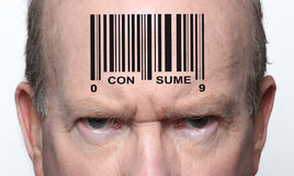 Bar coded man. Angry consumer with a bar code on his forehead Stock Images