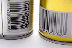 Bar codes. Two (2) bar codes on the the back or aerosol spray cans Stock Photos