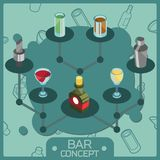 Bar color isometric concept icons vector illustration