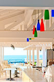 Bar with colored lights on the beach Royalty Free Stock Photos
