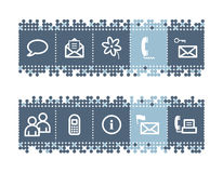 Bar with communication icons. Vector web icons. blue dots bar series Stock Photos